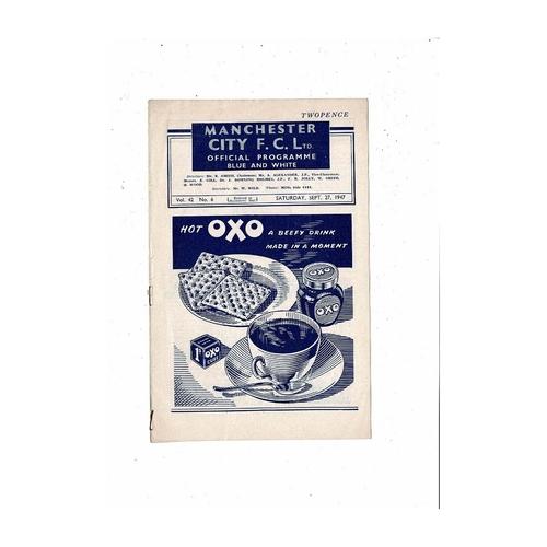 1947/48 Manchester City v Blackburn Rovers Football Programme