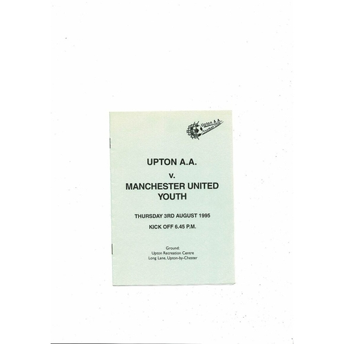 Upton v Manchester United Youth Friendly Football Programme 1995/96
