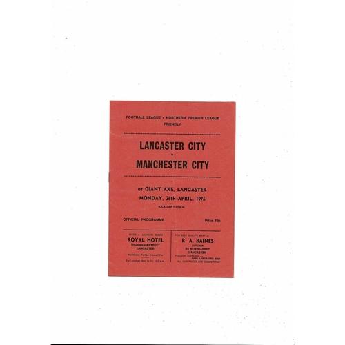 Lancaster City v Manchester City Friendly Football Programme 1975/76