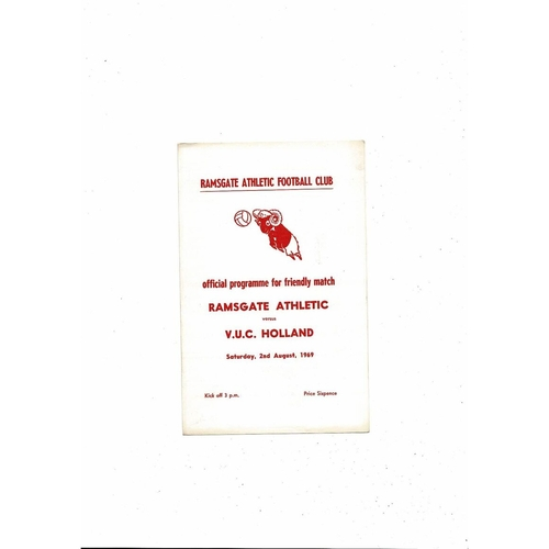 Ramsgate Athletic v V.U.C. Holland Friendly Football Programme 1969/70