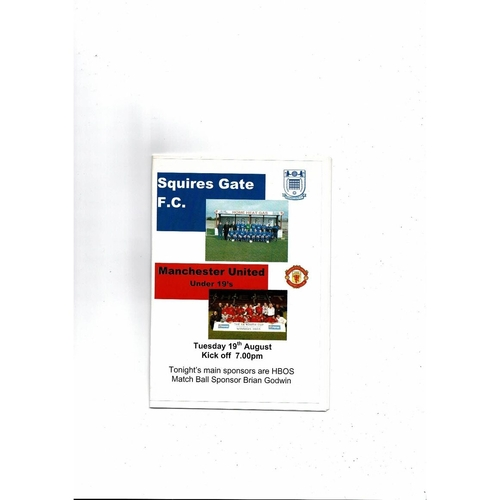 Squires Gate v Manchester United U19 Friendly Football Programme 2003/04