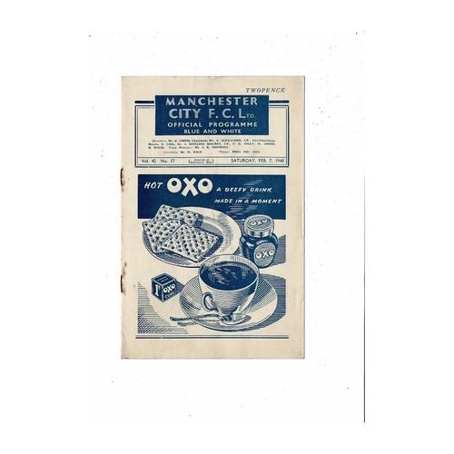 1947/48 Manchester City v Preston FA Cup Football Programme