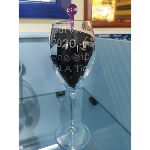 Engraved Wine glass surviving 2020 one sip at a time