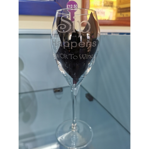 """Engraved Wine glass """"Sip happens its OK to wine"""""""