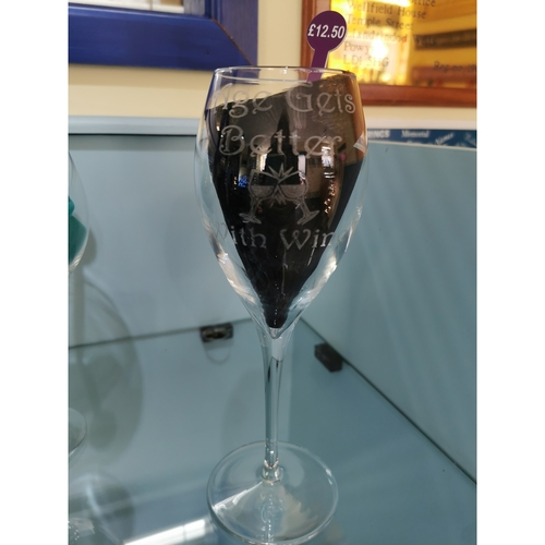 """Engraved Wine glass """"age gets better with wine"""""""