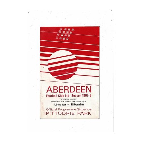 1967/68 Aberdeen v Hibernian Football Programme