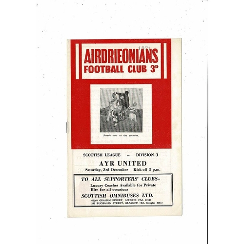 1960/61 Airdrie v Ayr United Football Programme