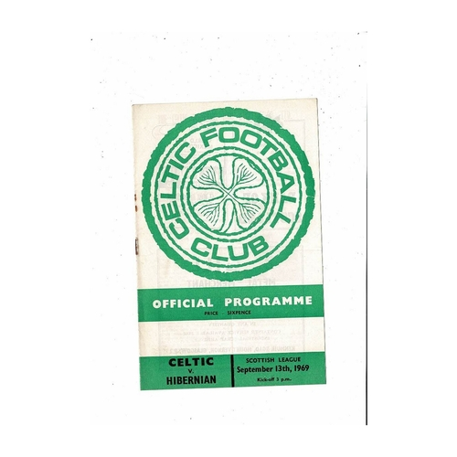 1969/70 Celtic v Hibernian Football Programme