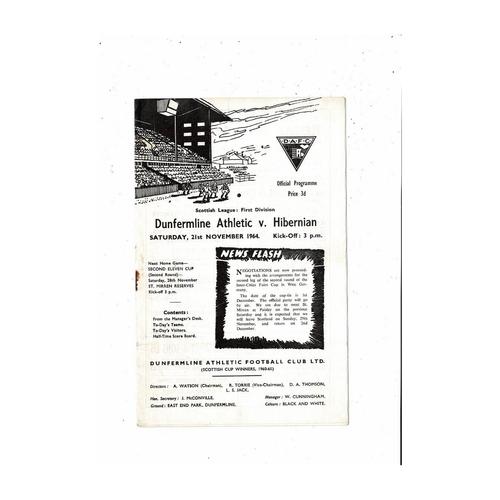 1964/65 Dunfermline Athletic v Hibernian Football Programme