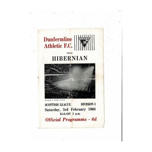 1967/68 Dunfermline Athletic v Hibernian Football Programme