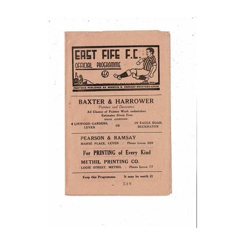 1962/63 East Fife v Stranraer Football Programme
