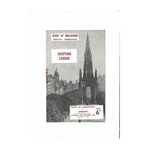 1965/66 Hearts v Aberdeen Football Programme
