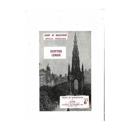 1965/66 Hearts v Clyde Football Programme
