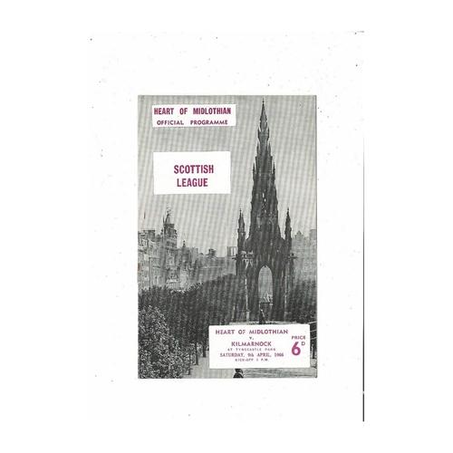 1965/66 Hearts v Kilmarnock Football Programme