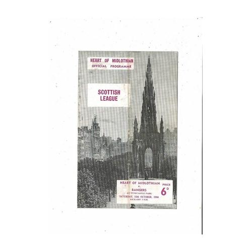 1966/67 Hearts v Rangers Football Programme
