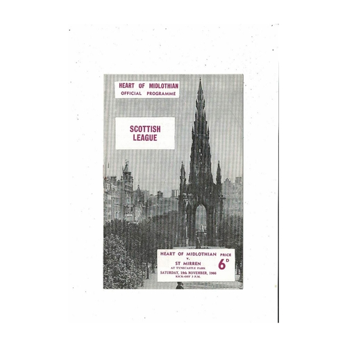 1966/67 Hearts v St Mirren Football Programme