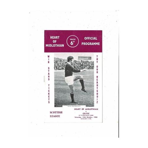 1968/69 Hearts v Celtic Football Programme