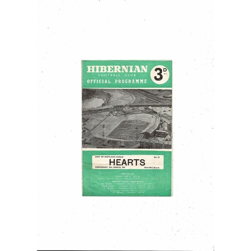 1960/61 Hibernian v Hearts East of Scotland Shield Football Programme