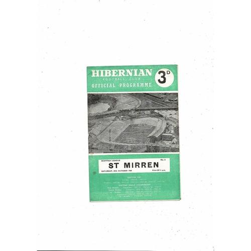 1960/61 Hibernian v St Mirren Football Programme