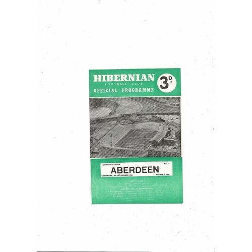 1961/62 Hibernian v Aberdeen Football Programme