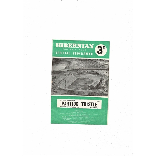 1961/62 Hibernian v Partick Thistle League Cup Football Programme