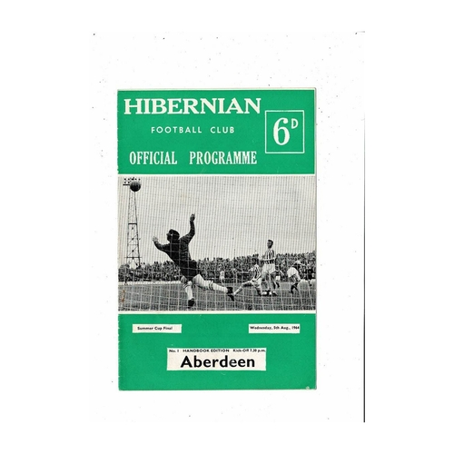 1964/65 Hibernian v Aberdeen Summer Cup Final Football Programme