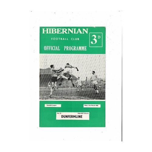 1964/65 Hibernian v Dunfermline Football Programme