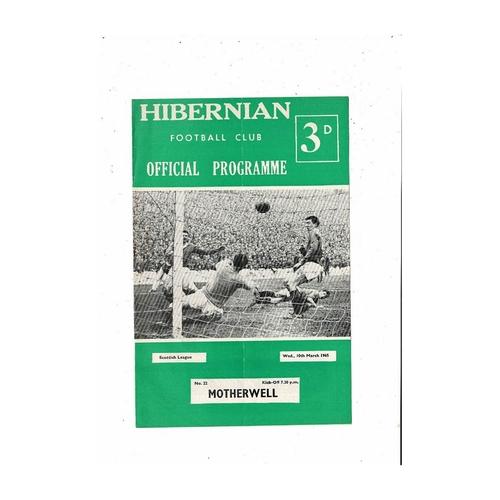 1964/65 Hibernian v Motherwell Football Programme