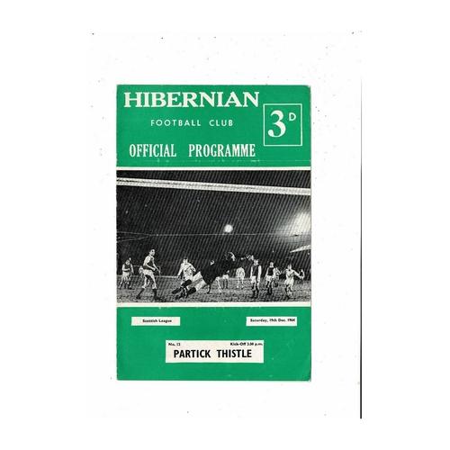 1964/65 Hibernian v Partick Thistle Football Programme