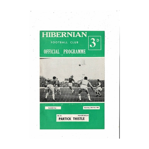 1964/65 Hibernian v Partick Thistle Scottish Cup Football Programme