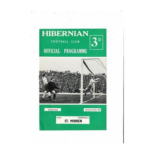 1964/65 Hibernian v St Mirren Football Programme
