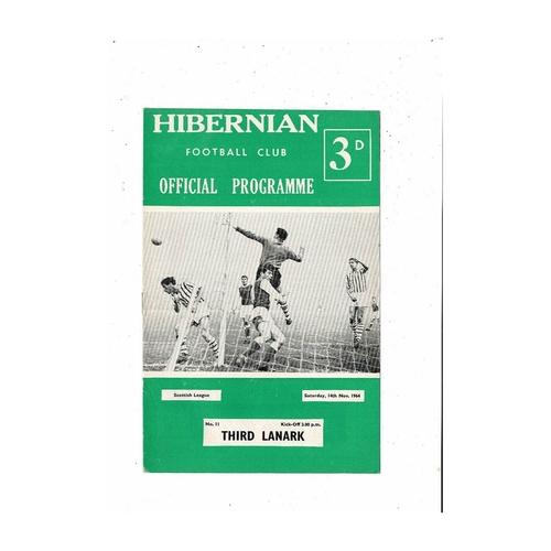 1964/65 Hibernian v Third Lanark Football Programme