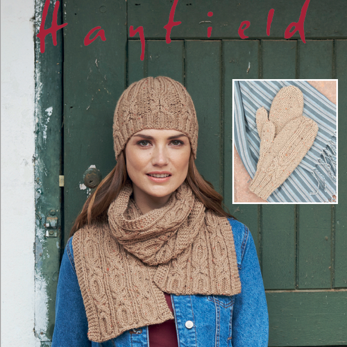Aran scarf, hat and mittens pattern 8171