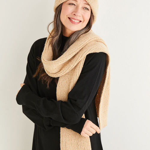 Aran hat and scarf pattern 10183