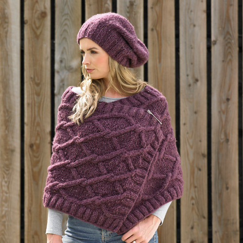 Chunky poncho, hat and wrap pattern JB638