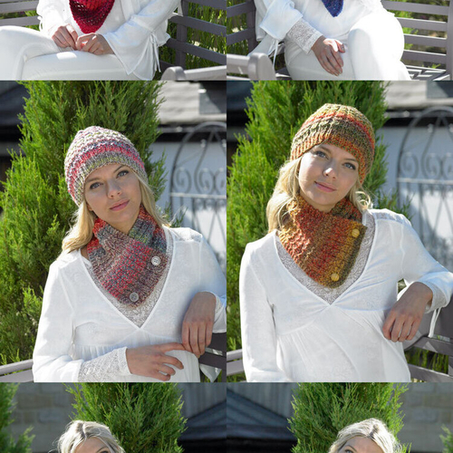 Chunky hat, scarf and shawl pattern JB461