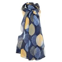 Leaves Scarf-Navy