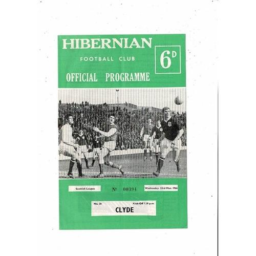 1965/66 Hibernian v Clyde Football Programme