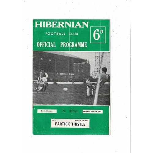 1965/66 Hibernian v Partick Thistle Football Programme