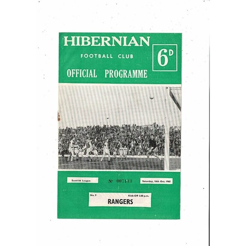 1965/66 Hibernian v Rangers Football Programme