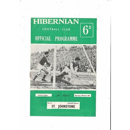 1965/66 Hibernian v St. Johnstone Football Programme