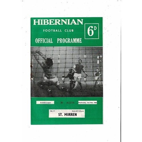 1965/66 Hibernian v St. Mirren Football Programme