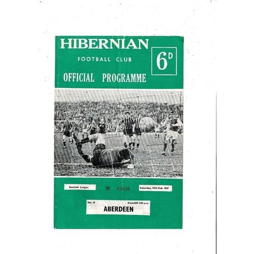 1966/67 Hibernian v Aberdeen Football Programme