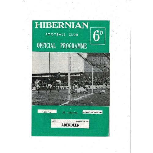 1966/67 Hibernian v Aberdeen Scottish Cup Football Programme