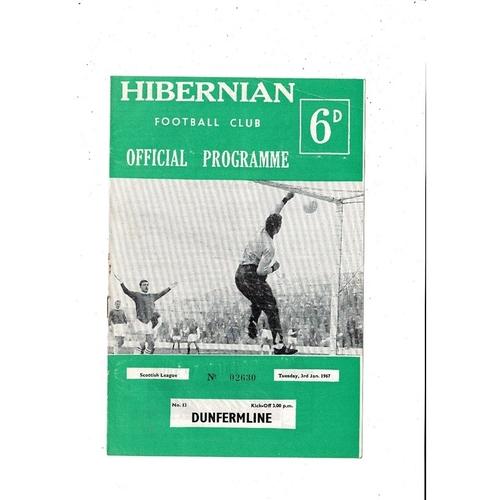 1966/67 Hibernian v Dunfermline Football Programme