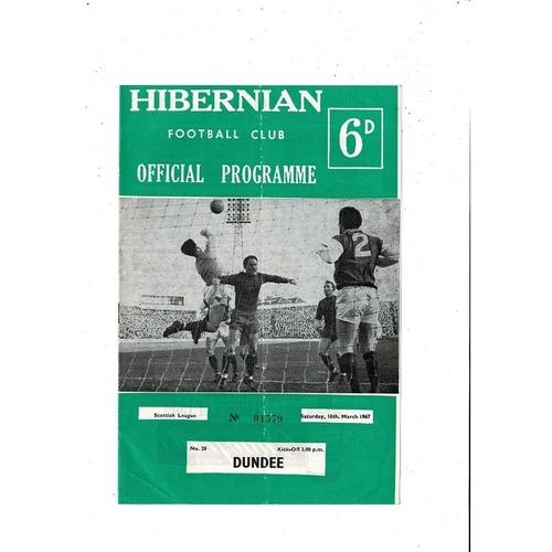 1966/67 Hibernian v Dundee Football Programme