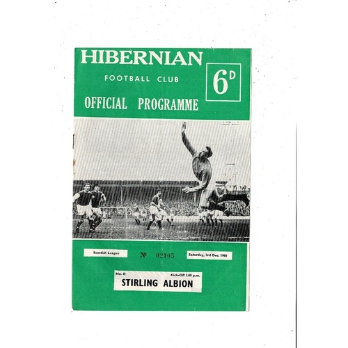 1966/67 Hibernian v Stirling Albion Football Programme