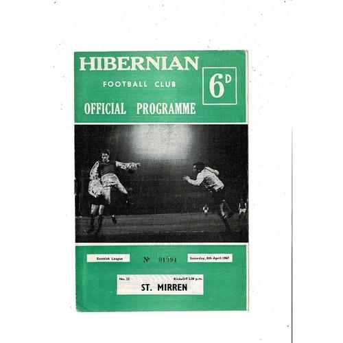 1966/67 Hibernian v St. Mirren Football Programme