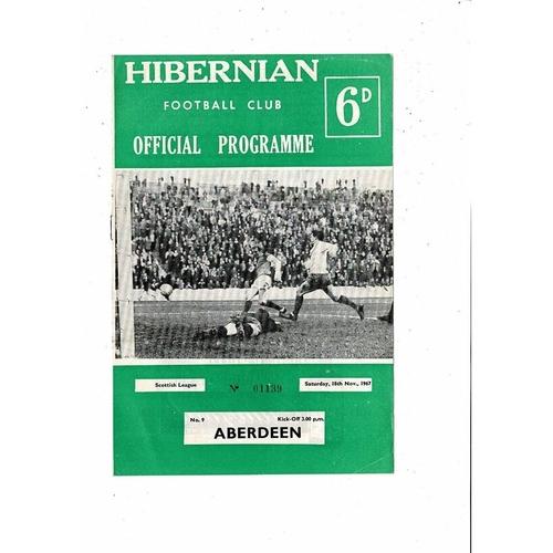 1967/68 Hibernian v Aberdeen Football Programme