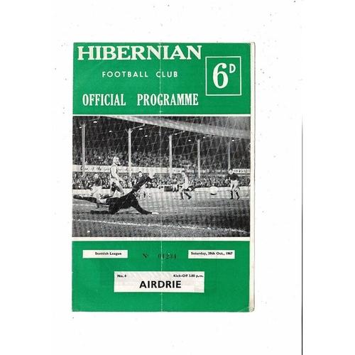 1967/68 Hibernian v Airdrie Football Programme